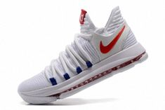 583a02fae562 New Kevin Durant Shoes KD 10 X USA Home White University Red