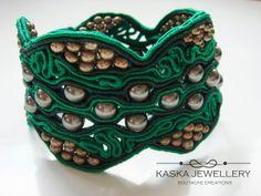 #soutache emerald #bracelet by kaskajewellery,