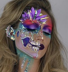 Love the colors and half face glitter sugar skull
