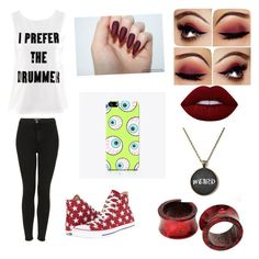 Untitled #25 by atomicriley on Polyvore featuring polyvore, H&M, Topshop, Converse, The Small Print., Lime Crime, fashion, style and clothing