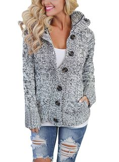 Sidefeel Women Hooded Knit Cardigans Button Cable Sweater Coat at Amazon Women's Clothing store: