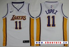 c04a465287d Men s Los Angeles Lakers  11 Brook Lopez New White 2017-2018 Nike Swingman  Stitched