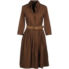 Ter Et Bantine 3/4 Length Dress (21.960 RUB) ❤ liked on Polyvore featuring dresses, cocoa, cotton a line dress, ter et bantine dress, cotton dress, long sleeve dress and belted dress