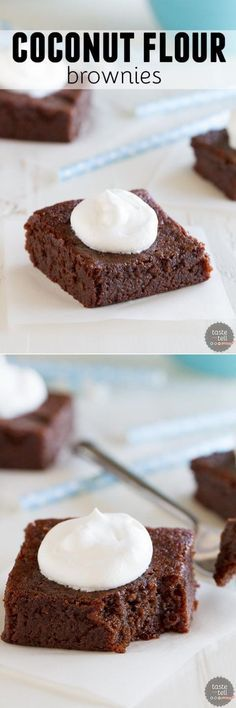 These moist, dense and fudgy Coconut Flour Brownies will convert you even if you aren't grain free! Dairy free option is also included. RECIPE uses [as well as Coconut Flour and Oil ] ♦♦ ENJOY ♥ Paleo Dessert, Healthy Baking, Healthy Desserts, Dessert Recipes, Diabetic Snacks, Low Carb Desserts, Gluten Free Desserts, Low Carb Recipes, Coconut Flour Brownies