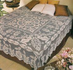 crochet filet bedcover pattern