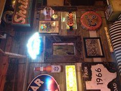 Stained glass put in garage bar wall Garage Game Rooms, Garage Bar, Man Cave Garage, Pub Sheds, Bar Stuff, Bar Games, Wall Bar, Man Room, Bar Ideas