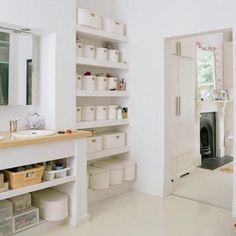 Look! Organized Open Shelves in the Bathroom