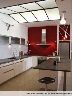 Photos décoration de Cuisine Américaine/ouverte Moderne/Design Loft Blanc Rouge Vermeil de n2bci