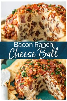 This Bacon Ranch Cheese Ball puts a delicious kick on the classic cheese ball re. - This Bacon Ranch Cheese Ball puts a delicious kick on the classic cheese ball recipe we all know an - Bacon Ranch Cheese Ball Recipe, Cream Cheese Ball, Cheese Ball Recipes, Ranch Recipe, New Year's Eve Appetizers, Bacon Appetizers, Appetizer Recipes, Christmas Eve Appetizers, Tailgate Appetizers