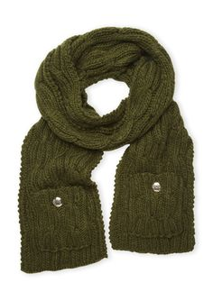 Cable Muffler With Pocket Long scarf; Cable knit; Features pockets at bottom with gold-tone crest #Scarf # #
