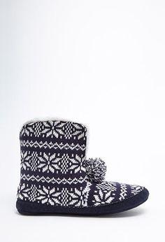 Fair Isle Pom-Pom Slippers | Forever 21 - 2000145790