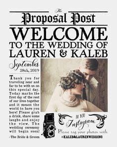 Love this custom vintage newspaper-style wedding welcome sign! Printable design, customized with your wedding details! Vintage, retro, classy weddings by MintandMerlotPaperCo on Etsy  https://www.etsy.com/listing/386160734/custom-vintage-newspaper-style-wedding?ref=shop_home_active_1