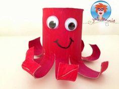 Octopus van een wc rol - knutselen - Juf Jannie Foto's en beschrijving op mijn website.