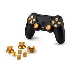 OKCS® Sony Playstation 4 Dualshock 4 Controller Aluminium Buttons Ersatzteile Thumbsticks Tasten Steuerkreuz PS4 in Gold