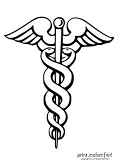 Caduceus medical symbol   Print. Color. Fun! Free printables, coloring pages, crafts, puzzles & cards to print