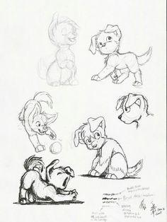 Animal Sketches, Animal Drawings, Drawing Sketches, Disney Drawings, Cute Drawings, Cartoon Dog Drawing, Character Design Animation, Character Drawing, Arte Elemental