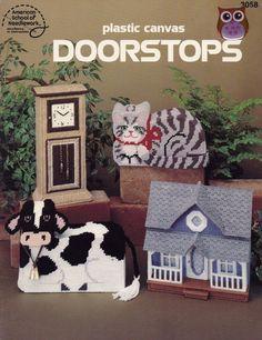 Doorstops, American School of Needlework Home Decor Plastic Canvas Pattern Booklet 3058 Victorian House Cow Cat Main Street & More!