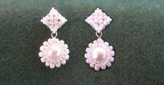 Victorian / Wedding earrings. Studs based on RAW beading tutorial https://www.youtube.com/watch?v=vNC7CN1MmLA