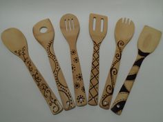 6 Piece Custom Bamboo Utensil Set by GirlyEngineersCrafts on Etsy