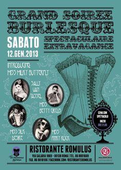 Grand Soiree Burlesque: Spectaculaire Extravaganza - Sabato 12 gennaio - Ristorante Romolus: Via Salaria 1069, Roma