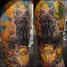 Lizard Tattoo by Remigijus Cizauskas - Tattoos - Beef Tattoo Skin, Tattoo Now, Tattoo Dublin, Les Reptiles, Amphibians, Lizard Tattoo, Wicked Tattoos, Cool Tats, Different Tattoos