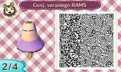 Este es un QR Code para Animal Crossing, creado por mí; como podéis observar, es un conjunto veraniego de color lila. [2-4]  Lo podéis encontrar en mi canal de YouTube: https://www.youtube.com/channel/UCh6uwa2CjSgR4WQ-ghRQY6Q (Roxy).  ¡Espero qué os guste! ;)