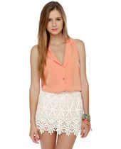 High Tea White Lace Mini Skirt.