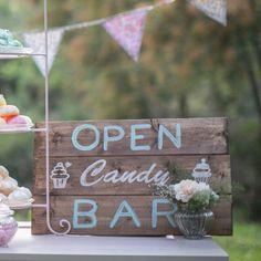 "Panneau en bois ""Open Candy Bar"""