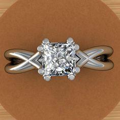 Platinum Princess Cut Diamond Engagement Ring, Split Shank, Half Carat. via jetflair on Etsy.