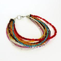 multi strand seed bead bracelet, colourful bracelet by KrykimoeKreations on Etsy