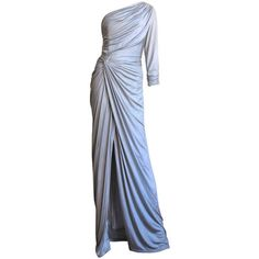 Gainni Versace Ruched Knotted One Shoulder Gown ❤ liked on Polyvore featuring dresses, gowns, ruched gown, ruched dress, blue ball gown, one shoulder gown and blue evening dresses