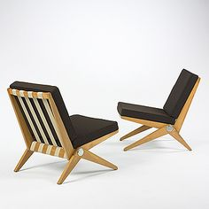 Pair of 1950 Pierre Jeanneret Scissor chairs of birch, upholstery, and canvas strapping;