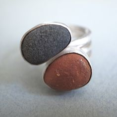 small double beach rock ringbrr.dc.101 by slradornments on Etsy, $200.00