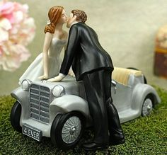 I'll Love U 4 EVER Car Wedding Cake Topper - Custom Painted Hair Color Available - 707548