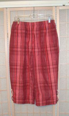 Blair Sz Medium Women's Mauve Pink Plaid Cotton Blend Capri Pants #Blair #CaprisCropped