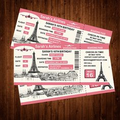 Paris Boarding Pass Invitation - Printable - FREE pennant banner and thank you card with purchase Airplane Wedding Invitations, Paris Invitations, Pool Party Invitations, Custom Invitations, Birthday Invitations, Shower Invitations, Paris Themed Birthday Party, Paris Party, Birthday Party Themes