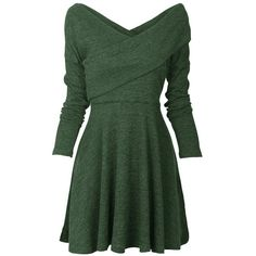 Womens Long Sleeve Knitted Sweater Pullover Swing Solid Slim Fit Wrap... ($23) ❤ liked on Polyvore featuring dresses, long sleeve wrap dress, green dress, midi dress, long sleeve dress and slimming midi dress