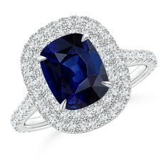 Angara Vogel Cushion Natural Sapphire and Diamond Halo Ring in 14k White Gold mDISpBe