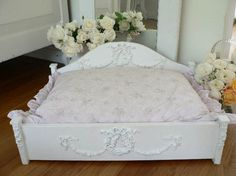 Shabby wooden Pet Bed Handcrafted Chic For Small Dog Or Cat - Handcrafted ornate shabby chic dog bed. I love it, but my pup would never use it. Custom Dog Beds, Dog Furniture, Painted Furniture, Headboard And Footboard, Mocca, Pet Beds, Diy Stuffed Animals, Pet Clothes, Shabby Chic