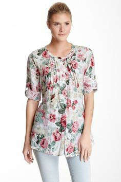 Floral Print Linen Tunic Shirt by Luma on @HauteLook