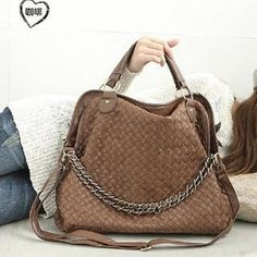 Smoothie  Chain-Accent Woven Satchel