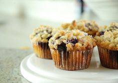 Blueberry Muffins with Greek Yogurt, Blueberry Filling and Streusel Topping