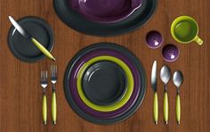 Check out my Colorama by Fiesta customized table setting! Slate, Plum, Lemongrass