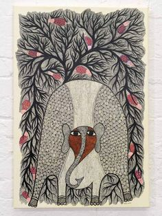 Large Gond Painting of an Elephant in the Forest. See more Gond paintings at The Silk Road Gallery Yarn Crafts For Kids, Madhubani Art, Indian Folk Art, Madhubani Painting, Elephant Art, Painting Gallery, Hindu Art, Tribal Art, Doodle Art