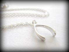 Silver Wishbone Necklace on sterling silver chain by Keepitclose, $28.30