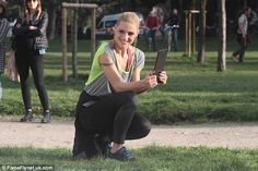 Hard at work: Michelle Hunziker was spotted filming a new ad for a Swiss telephone company in Milan on Tuesday, embracing a sporty style for the TV spot