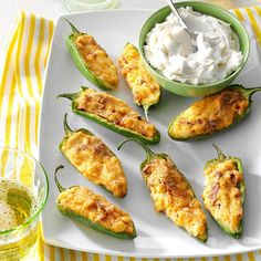 Air Fryer Pepper Poppers Recipe -These creamy stuffed jalapenos have some bite. They may be the most popular treats I make! My husband is always hinting that I should make a batch. —Lisa Byington, Johnson City, New York Finger Food Appetizers, Appetizer Dips, Appetizers For Party, Appetizer Recipes, Pepper Poppers, Jalapeno Poppers, Jalapeno Bites, Catering, Tapas