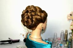 Wedding prom hairstyles for long hair. Bridal updo.  Свадебная прическа,...