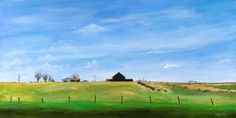 "oklahoma . 2013 . original $825 . prints starting at $22 . 15"" x 30"" . acrylic . Early spring in Oklahoma. The hills sprouting yellow, red barns, fracking outfits and American flags."