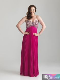 Beaded empire bodice with strapless, sweetheart neckline. Knife pleated chiffon creates a beautiful skirt.